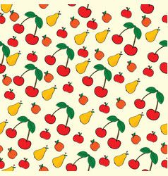 seamless pattern of fruit on yellow background vector image vector image