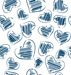 Seamless pattern of hand-drawn hearts isolated on vector image