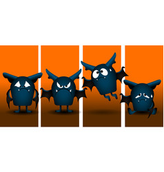 set of halloween bats vector image