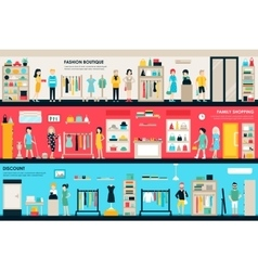 Shopping Center and Boutique Rooms flat shop vector image