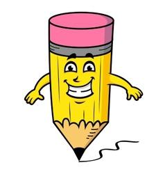 Smiling cartoon pencil vector image