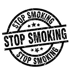Stop smoking round grunge black stamp vector