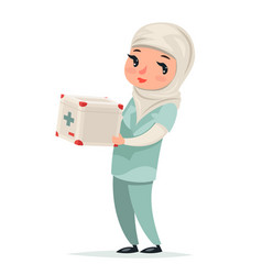 transplant surgeon nurse female girl cute arab vector image vector image