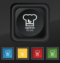 Vegan food graphic design icon symbol Set of five vector image vector image