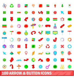 100 arrow and button icons set cartoon style vector