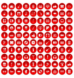 100 karaoke icons set red vector