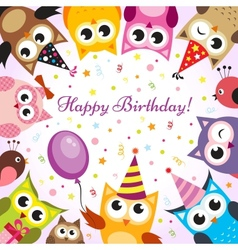 Birthday card with owls vector