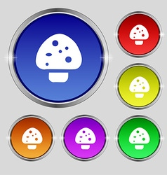 Mushroom icon sign round symbol on bright vector