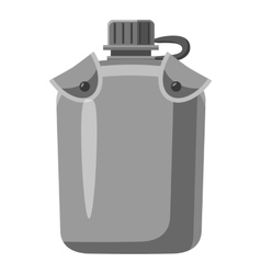 Military flask icon gray monochrome style vector
