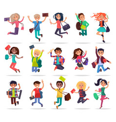 Jumping happy people with bags and books in hands vector