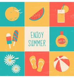 Summertime icons collection vector