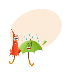 two funny happy umbrella characters open and vector image