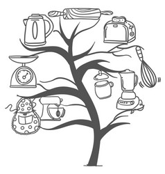 Tree kitchen set style collection vector