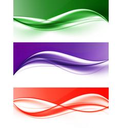 Abstract elegant light wavy lines set vector