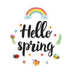 Hello spring quote with decorative floral vector
