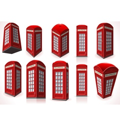 Set of english red telephone cabin vector