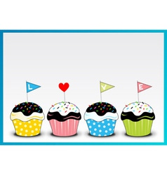 Cupcake 4 colour with love letter on it vector