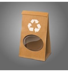 Blank craft realistic paper packaging bag with vector