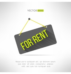 For rent sign made in modern flat design with long vector