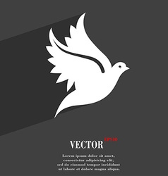 Dove icon symbol flat modern web design with long vector
