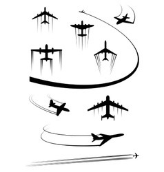 Black icons of airplanes and cargo planes vector