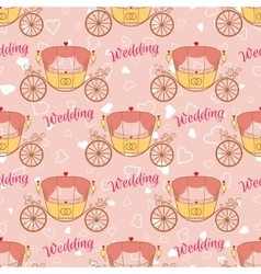 Wedding retro carriage seamless pattern vector