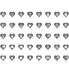 Grey heart icons vector