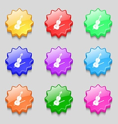 Violin icon sign symbol on nine wavy colourful vector