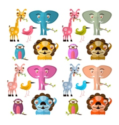 Animals Set - Giraffe Owl Bird Lion and Elep vector image