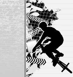 bmx cyclist grunge poster vector image vector image