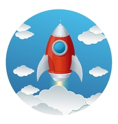 Cartoon retro iron rocket and clouds isolated vector