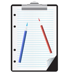 Clipboard with paper and pencils vector image vector image