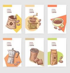 coffee hand drawn cards brochure menu with beans vector image vector image