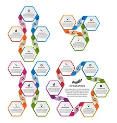 Collection of colorful hexagon infographics design vector