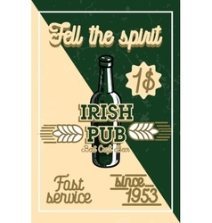 Color vintage irish pub banner vector