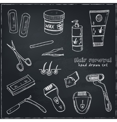Doodle set of hair removal tools vector