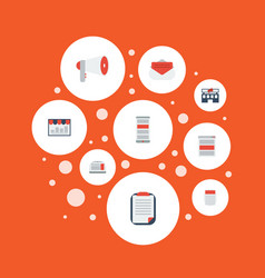 Flat icons journal message social media ads and vector