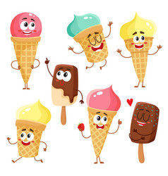 funny ice cream characters cones popsicles with vector image