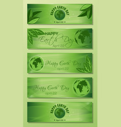 Green banner set for earth day vector