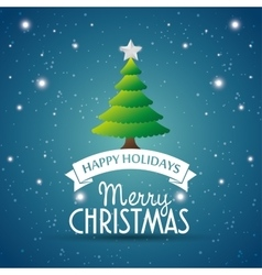 Happy holidays merry christmas tree star label vector