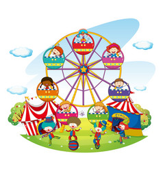Happy kids riding on ferris wheel vector