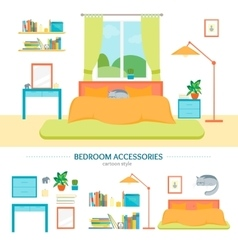 Interior Classic Bedroom with Furniture and vector image