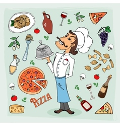 Italian cuisine and food hand-drawn vector