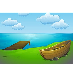 Lake and boat vector image vector image