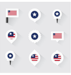 Liberia flag and pins for infographic and map vector