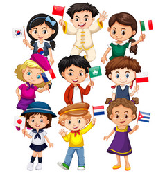 Many kids holding flag from different countries vector