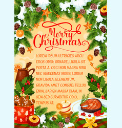 Merry christmas holiday dinner greeting vector