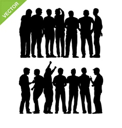 Peoples group silhouettes vector image vector image