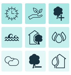 Set of 9 ecology icons includes cloud cumulus vector