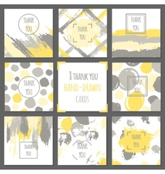 Set of thank you cards Hand drawn backgrounds vector image vector image